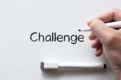 Challenge written on whiteboard Stock Photo
