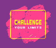 Challenge your limits. Challenge Concept. Motivation Quote on challenging the limits. Target Achievement Business plan typography poster. Design idea of sign Stock Photos