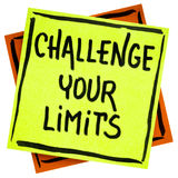 Challenge your limits inspirational advice or reminder stock photography