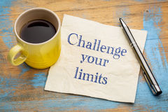 Challenge your limits motivational advice or reminder royalty free stock photography