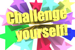 Challenge Yourself slogan. Golden text with vivid stars. 3d render Royalty Free Stock Photos