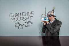 Challenge yourself text with vintage businessman Royalty Free Stock Photos