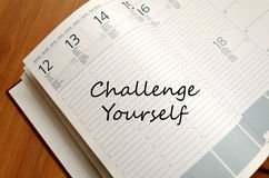 Challenge yourself write on notebook Royalty Free Stock Photos
