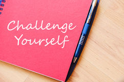 Challenge yourself write on notebook Stock Image
