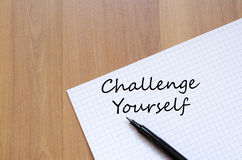 Challenge yourself write on notebook Royalty Free Stock Photography