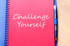 Challenge yourself write on notebook Stock Images