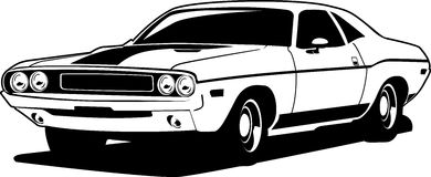 Challenger. A black and white ilustration of a chrysler challenger classic car Royalty Free Stock Photography