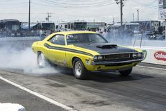 Challenger smoke show on the track Royalty Free Stock Images
