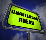 Challenges Ahead Signpost Shows to Overcome a Challenge or Diffi Stock Photography