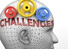 Free Challenges And Human Mind - Pictured As Word Challenges Inside A Head To Symbolize Relation Between Challenges And The Human Stock Image - 172337841