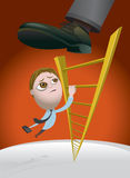 Challenges of Climbing the Corporate Ladder. Business man climbing the corporate ladder and getting kicked back down the rungs by his boss Royalty Free Stock Photos