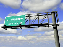 Challenges Exit Highway Sign. Overhead highway exit sign with the word challenges Royalty Free Stock Images