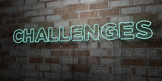 CHALLENGES - Glowing Neon Sign on stonework wall - 3D rendered royalty free stock illustration Royalty Free Stock Image