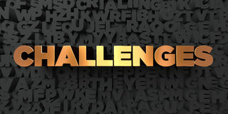 Challenges - Gold text on black background - 3D rendered royalty free stock picture. This image can be used for an online website banner ad or a print postcard Stock Photos