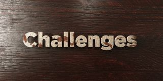 Challenges - grungy wooden headline on Maple  - 3D rendered royalty free stock image Stock Photos