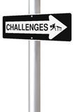 Challenges This Way. Conceptual one way road sign on challenges stock images