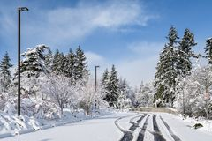 Challenging travel in a beautiful snow covered parking lot, snow covered trees. Blue ski, and white clouds royalty free stock photo