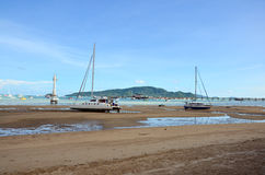 Chalong Bay Pier when water level low at Phuket Thailand Royalty Free Stock Image
