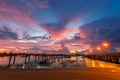 Chalong pier during sunrise or sunset,beautiful colorful dramat Stock Image