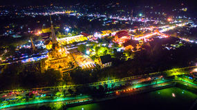 Chalong temple has celebrating Annual fair at night Stock Photos