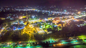 Chalong temple has celebrating Annual fair at night Royalty Free Stock Images