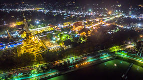 Chalong temple has celebrating Annual fair at night Royalty Free Stock Photos