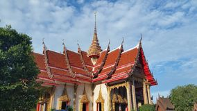 Chalong Temple Phuket Thailand. Chalong Temple Phuket with blue skies in summer. Local attraction Stock Photo