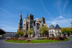 Chalons en Champagne cathedral with the fountain in front Royalty Free Stock Images