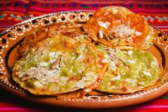 Chalupas puebla, mexican food mexico city spicy street poblanas Royalty Free Stock Photography
