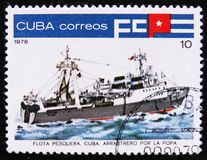 Chalutier cubain de pêche, serie de flotte de pêche, vers 1978 Photographie stock