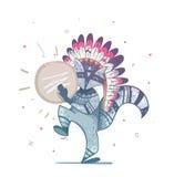 Chamán tribal del mapache con una danza de la pandereta stock de ilustración