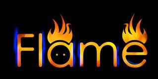 Chama abstrata da inscrição em um logotipo escuro do negócio do projeto do fundo Imagens de Stock Royalty Free
