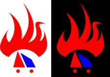 Chama abstrata, isolada e contra um logotipo escuro do negócio do projeto do fundo Imagem de Stock