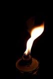 Chama de uma lanterna do petróleo Fotos de Stock Royalty Free