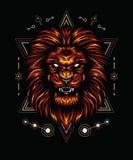Chama do leão com geometria sagrado ilustração do vetor