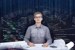 Chama inżyniera, programisty miejsce pracy/ fotografia royalty free