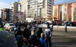 Chama olímpica. Cidade de Ufa, respublika Bashkortostan, Rússia, o 20 de dezembro de 2013 ano. Fotos de Stock