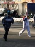 Chama olímpica. Cidade de Ufa, respublika Bashkortostan, Rússia, o 20 de dezembro de 2013 ano. Foto de Stock Royalty Free