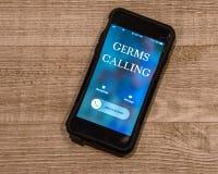 Chamada da exibição do telefone celular de, germes chamada foto de stock royalty free