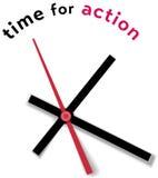 Chamada do movimento do relógio de ponto para a ação Fotografia de Stock Royalty Free
