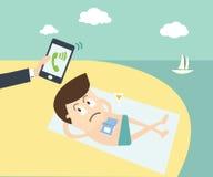 Chamada importante - homem de negócio que chama pelo telefone celular no beac ilustração royalty free