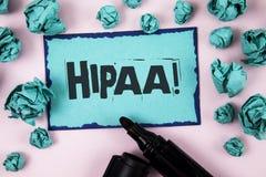 Chamada inspirador de Hipaa do texto da escrita da palavra Conceito do negócio para a mobilidade do seguro de saúde e ato da resp foto de stock royalty free