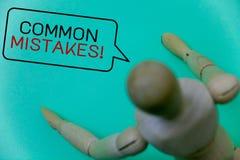 Chamada inspirador dos erros comuns do texto da escrita da palavra O conceito do negócio para o lote dos povos faz a mesma ação n Imagem de Stock Royalty Free