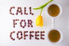 Chamada para o café Imagens de Stock Royalty Free