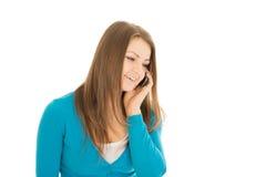 Chamadas bonitas da mulher Fotografia de Stock Royalty Free