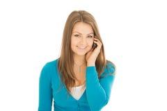 Chamadas bonitas da mulher Imagens de Stock