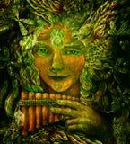 Chaman féerique de forêt avec le panflute et le cristal, illustration colorée détaillée Photo libre de droits