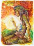 Chaman indien hippie vert avec une boule de lumière blanche curative Image stock
