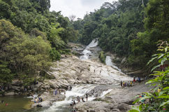 Chamang vattenfall, Bentong, Malaysia arkivbild