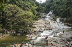 Chamang Waterfall, Bentong, Malaysia. Bentong, Malaysia - July 18, 2015: Tourists enjoying the bliss of Chamang waterfall in Pahang during long seasonal holiday Royalty Free Stock Photos